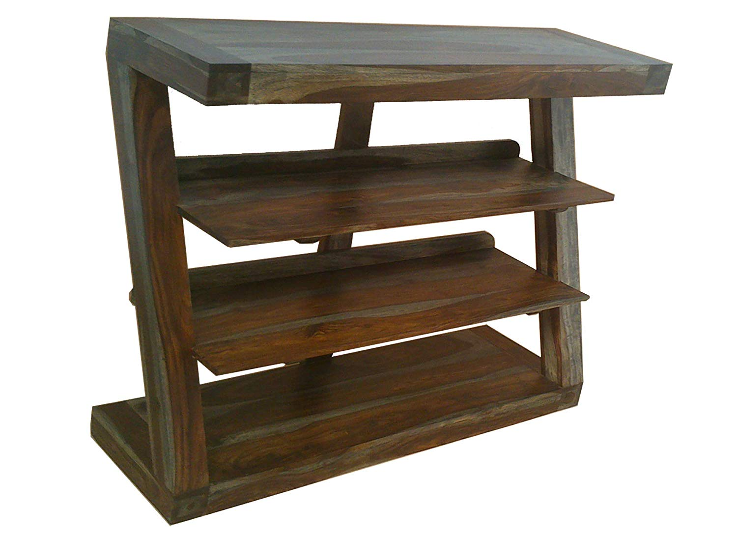Nikunj Solid Wood Z Shape Book Shelf For Home Sheesham Wood Brown Finish Specially Designed Quality Certified Furniture For Home Living Room
