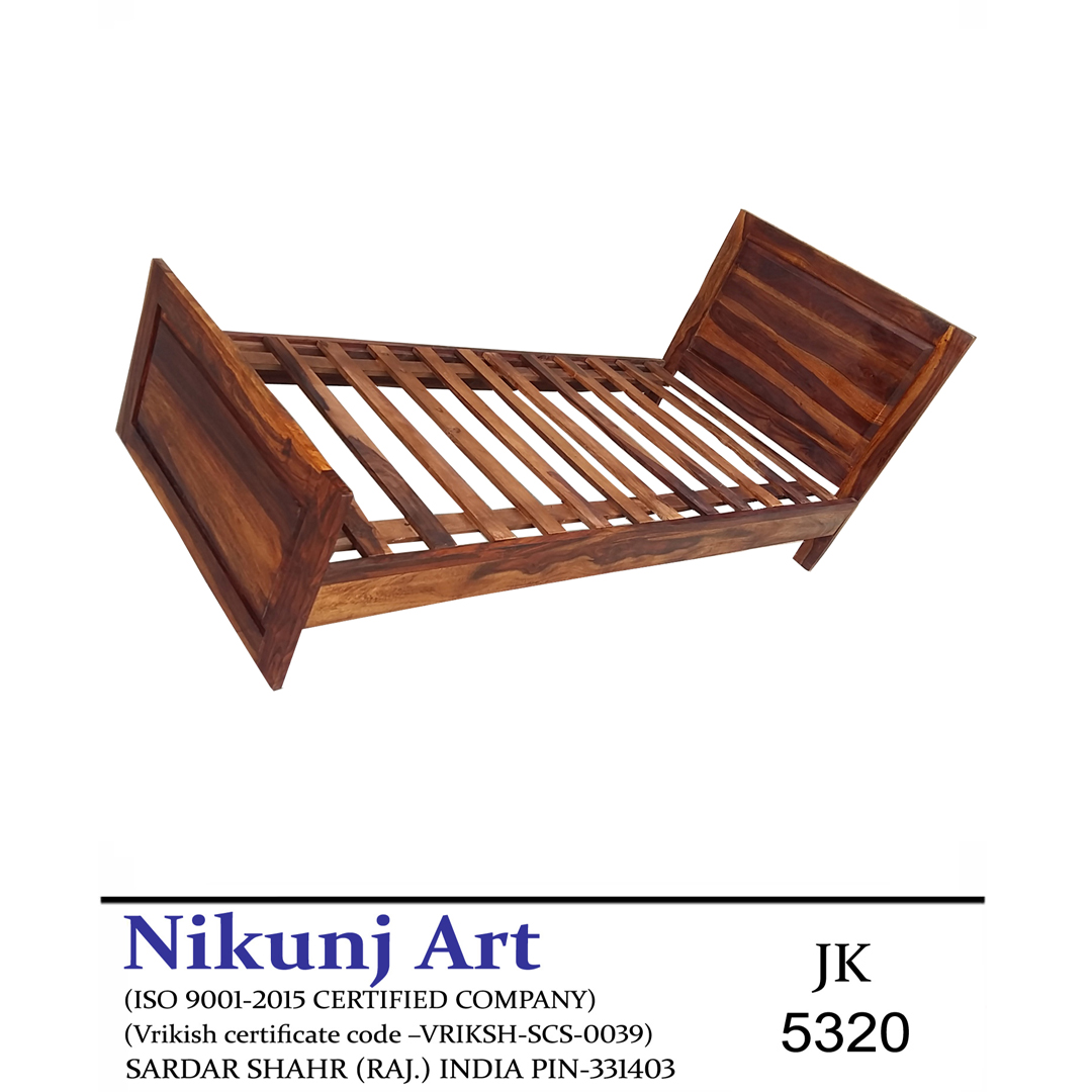 Nikunj Solid Wood Single Size Bed For Bed Room Sheesham Wood Natural Brown Finish Specially Designed Quality Certified Furniture For Home Living Room Bedroom Guest Room And Corporate Office Collection Nikunj